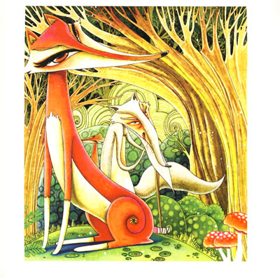 仙鹤芦苇儿童画