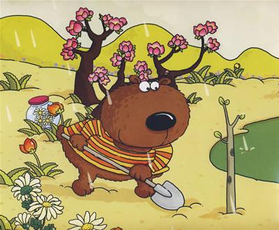 用野  果做糖葫芦,和小动物们比个子,在春天种树,在夏天乘凉,在秋天